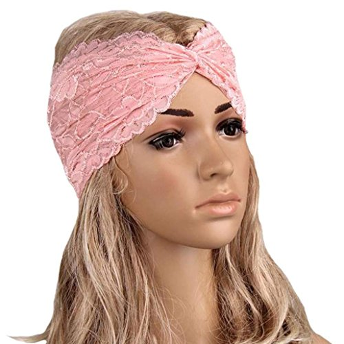 OUBAO Women Sport Yoga Lace Turban Headscarf Wrap (Pink) (Gypsy Head Scarf)