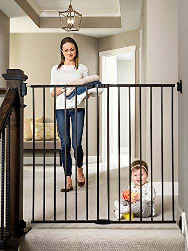 Rail Gate - Regalo 2-in-1 Extra Tall Easy Swing Stairway and Hallway Walk Through Baby Gate, Black