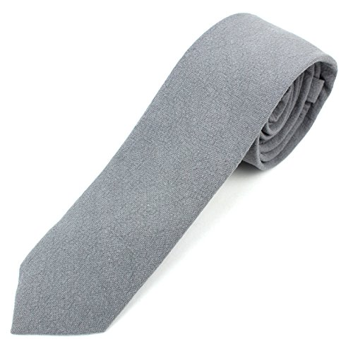 Men's Skinny Necktie Tie Textured and Distressed Finish - Gray
