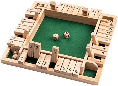 [해외]ROPODA 4방향 박스 주사위 게임 (2-4 플레이어) 아동용 + 성인용 [4면 대형 목재 보드 게임 8개의 주사위 + 셔터 박스 규칙] 학습 번호 전략 + 위험 관리 용 스마트 게임 / ROPODA 4-Way Shut The Box Dice Game (2-4 Players) for Kids + Adults [4...
