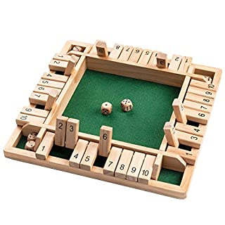ROPODA Shut The Box Dice Game Wooden (2-4 Players) for Kids & Adults [4 Sided Large Wooden Board Game, 8 Dice + Shut The Box Rules] Amusing Game for Learning Addition, 12 inch
