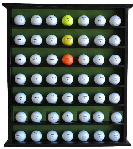 Golf Gift 49-Ball Cabinet Display Case Rack, No Door, Black, GB20-BL (Golf Ball Display Case)