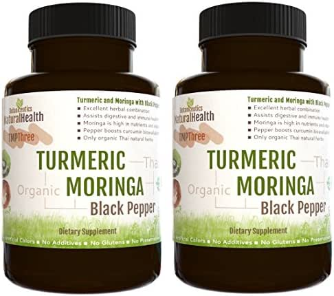Botaniceutics Organic Turmeric, Moringa, and Black Pepper - 240 Capsules - 2 Bottles - 500 Mg. No additives, no fillers. Natural Turmeric Curcumin, Moringa, and pepperine for Natural, Good Health