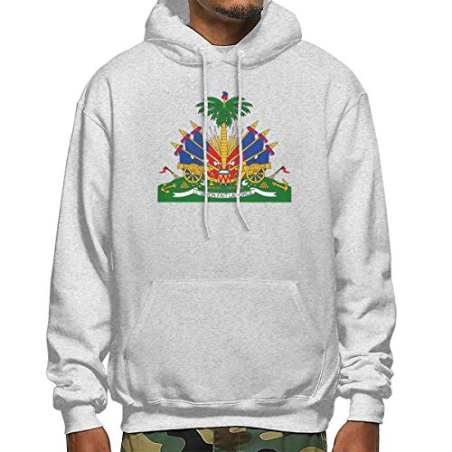 Coat of Arms of Haiti Men's Long Sleeve Pullover Hooded Sweatshirt with Pocket Gray ()
