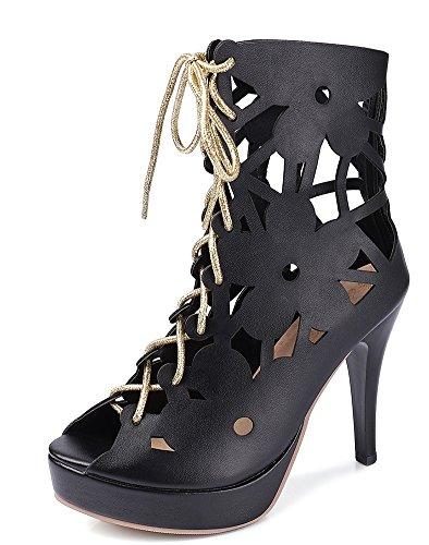 Aisun Women's Dressy Hollow Out Lace up Sandals Boots Black SiZGN11k