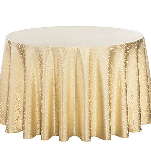 CH&Q Tablecloth - 80 Inch Embroidered Flower Round Tablecloth Great for Buffet Table/Parties/Wedding/Holiday Dinner/Banquet/Restaurant & More - Polyester Fabric Table Cloth - Beige ()