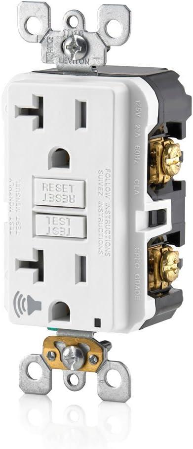 20 Leviton GFTA2-W SmartlockPro Self-Test Slim GFCI with Audible Trip Alert