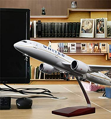 "18"" 1:130 Airplane Model American United Airlines Boeing 787 with LED Light(Touch or Sound Control) for Decoration or Gift"