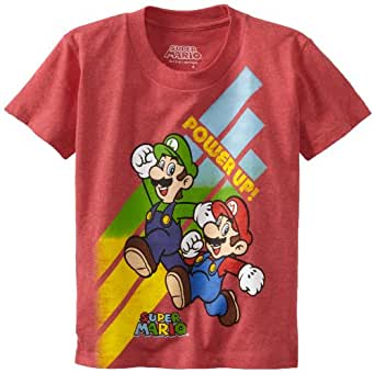 Nintendo Little Boys' Mario and Luigi Power Up Short Sleeve Tee, Red Heather, 4