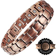 VITEROU Mens Magnetic Pure Copper Therapy Bracelet with Magnets Pain Relief for Arthritis,3500 Gauss
