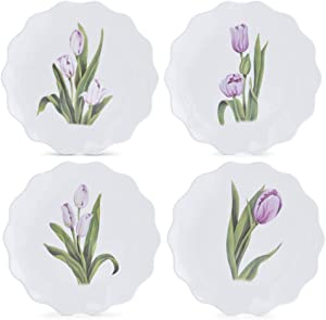 K&K Interiors 15479A Assorted 9 Inch Tulip Melamine Appetizer Plates (4 Styles), White