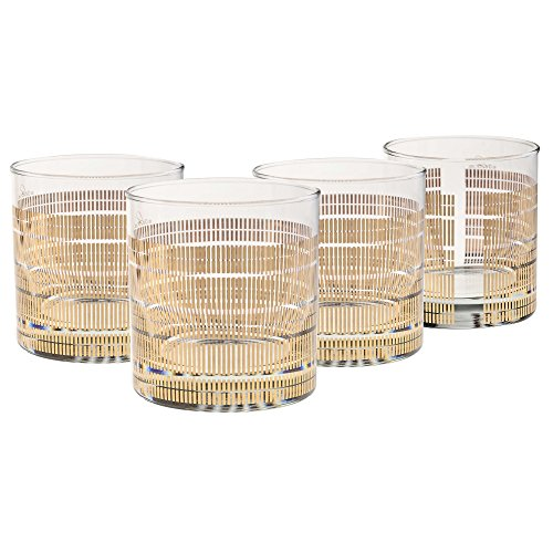 UPC 024766009565, Culver Gold 22k 11-Ounce Old Fashioned Glass Set of 4 (Striped)