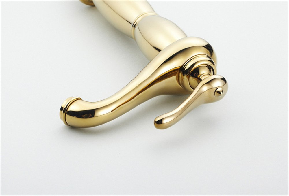 Bathroom Sink Faucet Retro Single Handle Single Hole Washbasin Head, All Copper Platform Top Pot, Luxury Gold Taps, Basin Hot And Cold Taps by Sink Taps FUNUAN (Image #3)
