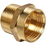"""Anderson Metals Brass Garden Hose Fitting, Connector, 3/4"""" Female Hose ID x 3/4"""" Male Pipe x 1/2"""" Tapped Female Pipe"""