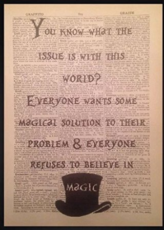 Parksmoonprints Alice in Wonderland Quote Print Vintage Dictionary Page  Picture Art Mad Hatter