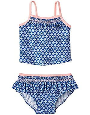 Baby Girls Geo Floral 2Pc. Tankini Swimsuit (18M, Blue)