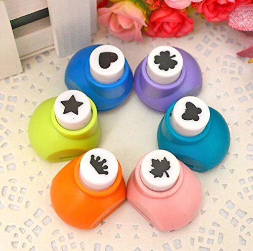 Krismile 6 Pieces Set Mini Scrapbook Punches Handmade Cutter Card Craft Calico Printing DIY Flower Paper Craft Punch Hole Puncher Shape
