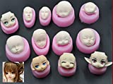 WellieSTR Set Of 12 Family Mini Clay Facial Human Face Mold BJD Barbie Silicone Fondant Cake Mold Polymer Clay Mould