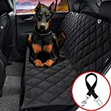EVELTEK Car Seat Covers for Dogs, (Includes Dog seat Belt) Non Slip Waterproof Pet Travel Hammock Car Seat Protector for Back Seat with Side Flaps Cars/SUVS/Trucks(Black)
