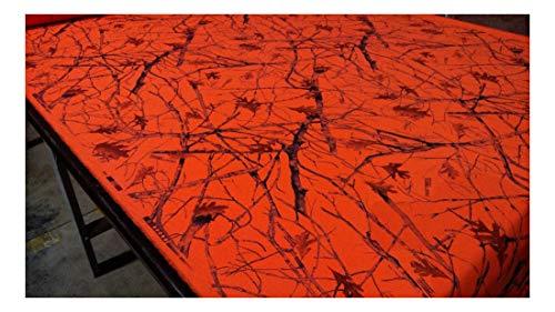 Blaze Orange Snowfall Camouflage Hunting Cotton Poly Ripstop Apparel Fabric 62