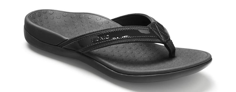 Vionic Women's Tide II Toe Post Sandal - Ladies Flip Flop with Concealed Orthotic Arch Support Black 11 Medium US
