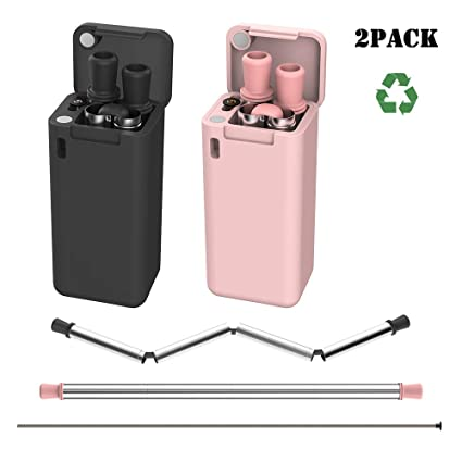 elechok TROPRO Reusable Collapsible Straw, Food-Grade Stainless steels  Folding Drinking Straws, Portable Set Case with Keychain Hole and Cleaning
