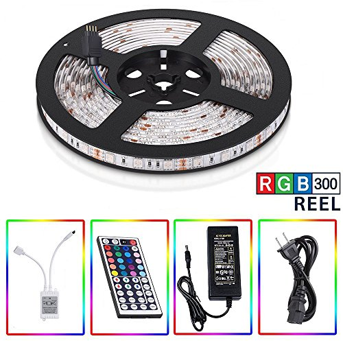 5-Meter Waterproof Flexible Color Changing RGB SMD5050 300 LEDs Light Strip Kit with 44 Key Remote and 12V 5A Power Supply