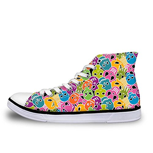 Lightweight Pattern Sneakers Coloranimal Universe Skull Top Canvas Animal Shoes Women Prints 3 High SPgdPxCw