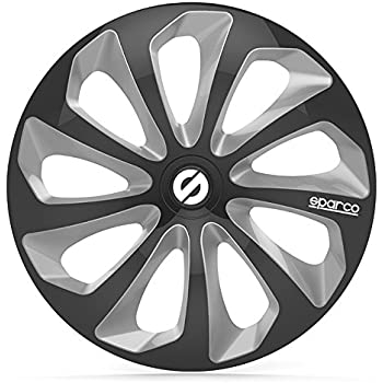 Sparco SPC1673BKSV Sicilia Wheel Covers, Black/Silver, Set of 4, 16