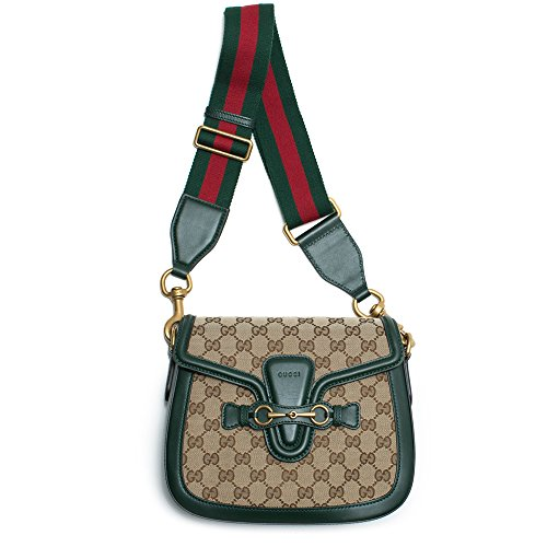 Gucci Lady Web GG Signature Box Authentic Green Leather Red Strap Italy New