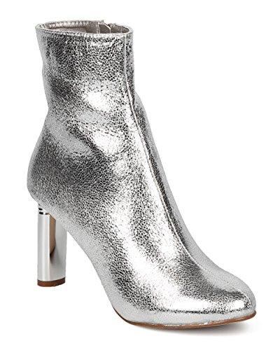 Dressy CAPE Trendy Oval Boot Formal by Heel ROBBIN Bootie Women Ankle Heel Metallic GF77 Silver Foiled YqYzr8w