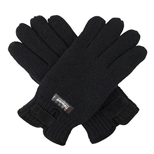 (Bruceriver Mens Wool Knit Gloves with Warm Thinsulate Fleece Lining and Durable Leather Palm Size L/XL (Black))