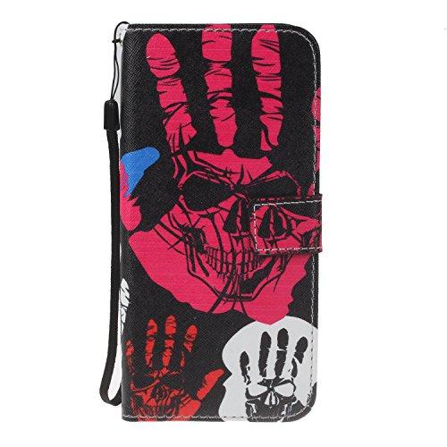 Para Samsung Galaxy J3 (2016)/J310 funda, (campánula misteriosos) caja del teléfono de la PU patrón en relieve ,Función de Soporte Billetera con Tapa para Tarjetas correa de mano soporte para teléfono Palma de la mano del mal