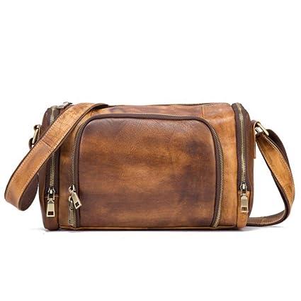 4225254e9d43 KRPENRIO Leather Men s Shoulder Bag Retro Wipe Color Men s Bag First Layer  Cowhide Messenger Bag Vegetable