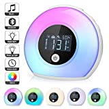 Macrimo Sound Machine for Sleeping, Multi-Functional Wake up Light Bluetooth Speaker Kids Alarm Clock with LCD Screen, 3 Nature Sounds and 5 Color Light for Children Bedroom