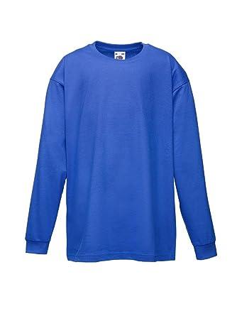 6de10cb2ae3 Fruit of the Loom Kids Long Sleeve Value Crew Neck T Shirt: Amazon.co.uk:  Clothing