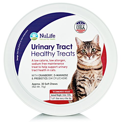 Cat Urinary Tract Health Treats, Natural Kidney & Bladder Support For Felines, Antioxidant & Anti-Inflammatory For UTI's With Cranberry, D-Mannose & Probiotics, 30 Cheese Flavored Treats