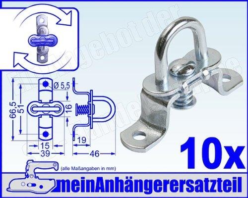 42x22mm Drehverschluss f/ür Oval/ösen FKAnh/ängerteile 12 St/ück verzinkt Hoch
