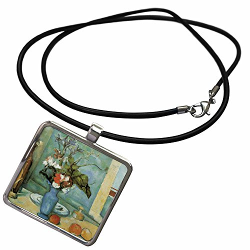 3dRose BLN Flower Paintings Fine Art Collection - Blue Vase by Paul Cezanne Impressionist Still Life - Necklace With Rectangle Pendant (ncl_126445_1)