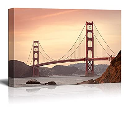 Canvas Wall Art - Golden Gate Bridge - Giclee Print Gallery Wrap Modern Home Art Ready to Hang - 32