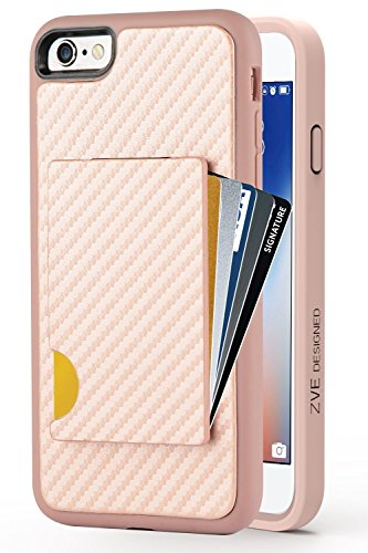 iPhone 6 Wallet Case, iPhone 6s Card Holder Case, ZVEdeng Protective iPhone 6s Credit Card Case with Carbon Fiber Design Slim Purse Anti Shock Wallet Case for iPhone 6 / 6s 4.7 Rose Gold