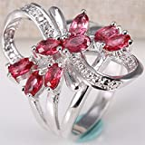 Women Fashion 925 Silver Natural Ruby Flower Wedding Engagement Ring Size 6-10 (6)
