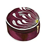 travel jewelry case red - Travel Jewelry Case - Embroidered Chrysanthemum (Raspberry)