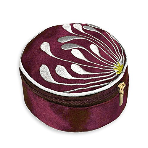 Travel Jewelry Case - Embroidered Chrysanthemum (Raspberry) - Satin Inner Lining