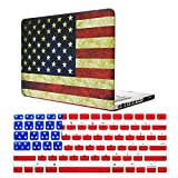 MacBook Pro 13 Inch CD-ROM Case Model A1278, iZi Way Vintage American Flag Pattern Rubberized Hard Shell Case with US Silicone Keyboard Cover for Old MacBook Pro 13.3' with DVD Drive