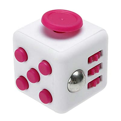 Fidget Cube Stress Anxiety Pressure Relieving Toy Great for Adults and Children[Gift Idea][Relaxing Toy][Stress Reliever][Soft Material] (White&Pink): Toys & Games