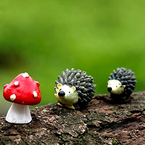 Hot Sale!DEESEE(TM)Mossfairy Miniature Ornament Hedgehog Mushroom Set Decor Fairy -