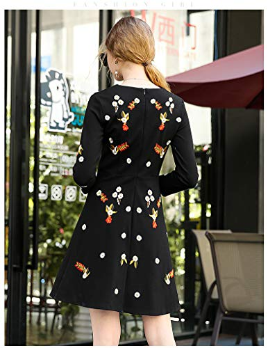 Floral Mujer Cuello En Con Manga Cintura V Camisa Bordado Black Otoño Mini Para Alta Larga xIZqUwPB