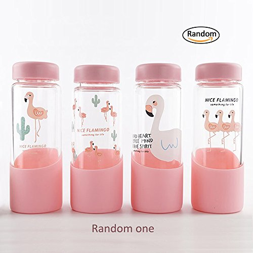 - Glass Water Bottles 17 oz Creative Flamingo Water Cup for Drinking, Juice Bottle, Milk Container Glass Bottle With Silica Gel Protective Sleeve