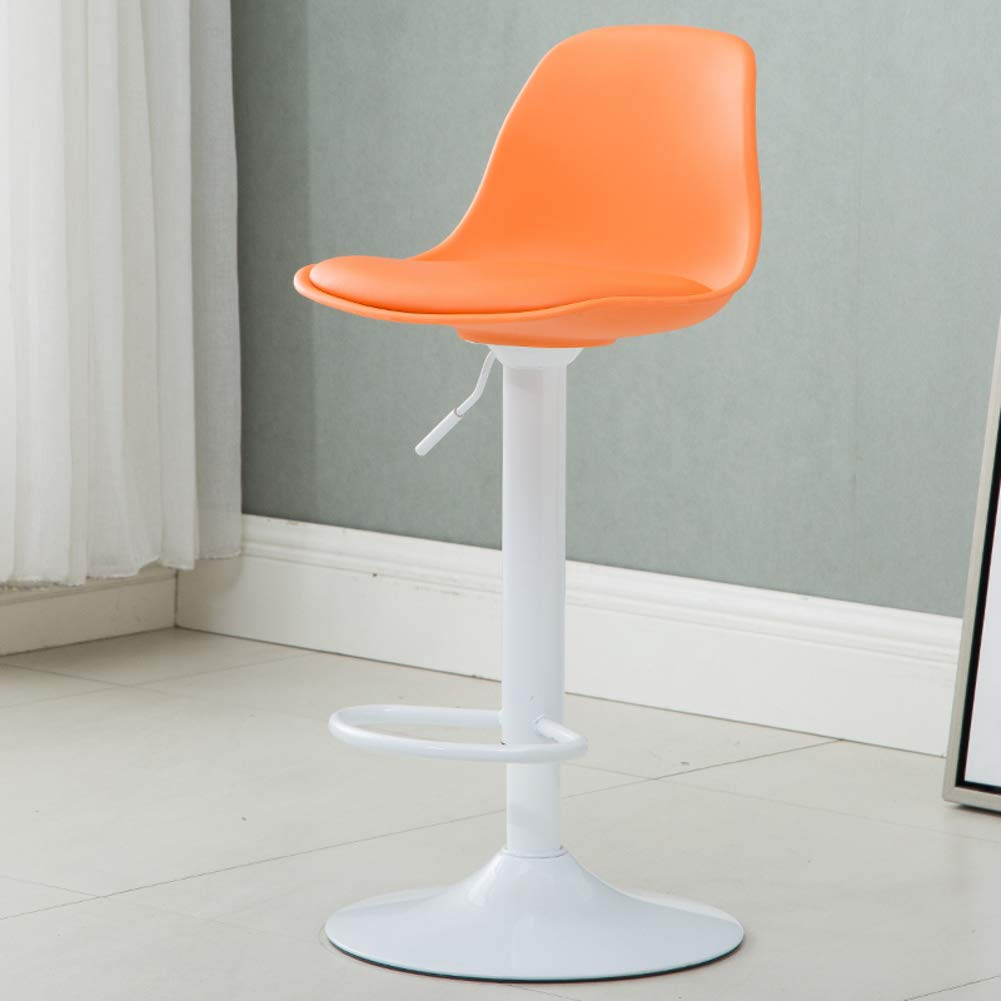 orangeA Modern Swivel Barstools, Height-Adjustable Chair High Stool with Backs Pub Chair Plastic Filled Cotton Counter Bar Stool Chair for Bar Office Home-Yellow